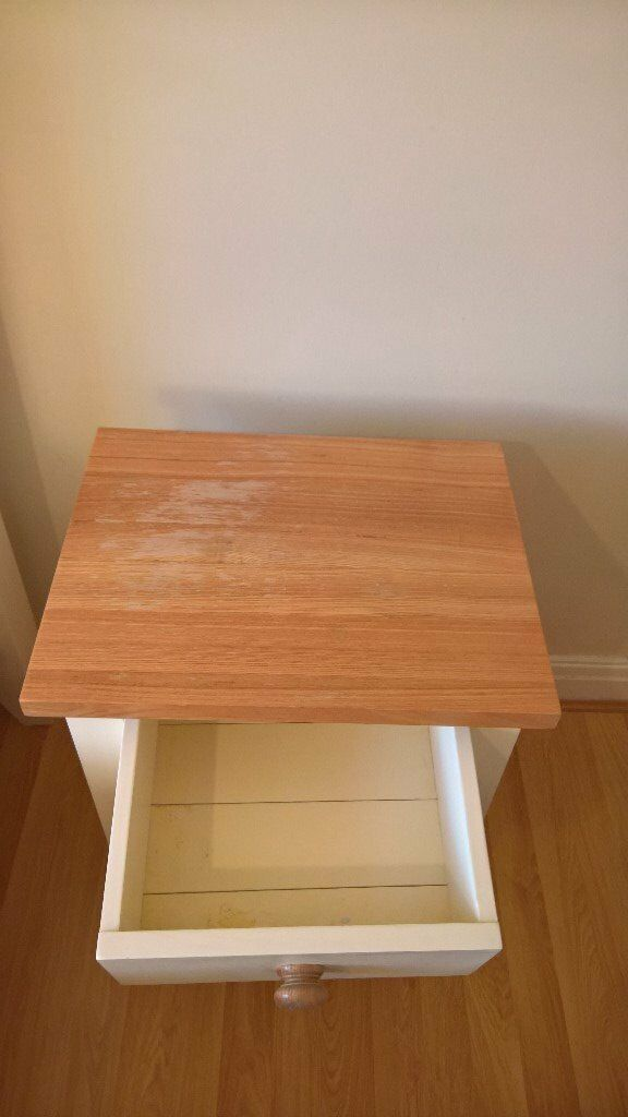 2 Solid oak 3 drawer bedside tables - ivory and ash