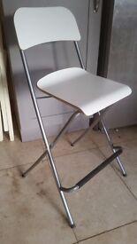 White Ikea Franklin Folding Bar Stool 73cm seat height