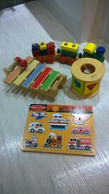 Wooden toys selection - Melissa and Doug Train and wooden puzzle, Xylophone and Shape sorter