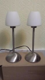 2x Endon Satin Chrome Touch Table Lamps with Dimmer
