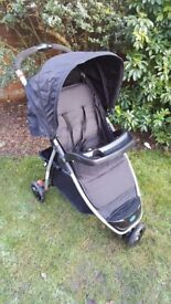 Babystart Ria 3 Wheeler Pushchair - Black.