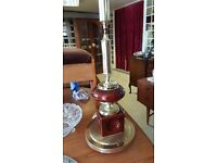 Dark Red and Brass Coloured Tall Lamp Stand in Great Condition