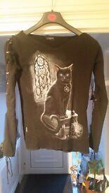Ladies Spiral Direct laced sleeve cat t shirt (medium)