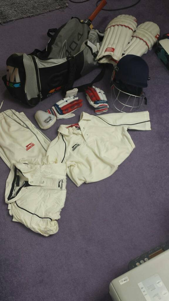 Cricket clothes helmet pads bat etcin Leytonstone, LondonGumtree - All items for £50