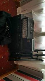 Small pa speakers stands mic stand bag of leads also bass guitar n amp