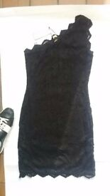 H&M black lace one shoulder bodycon dress size 12 BNWT rrp 29.99
