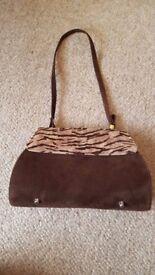 Ladies girls brown tiger pattern suede clasp clutch handbag purse bag