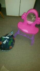 Free bag of mixed toys and vanity table