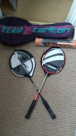 Badminton racquets, carry bag and practice shuttles
