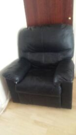 Homebase black faux leather reclining armchair
