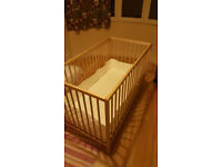 Baby cot with mattress and bumper pad + high chair