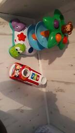 Bright starts fire engine and monkey toy baby toddler pre school