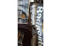 Mens red route kevalar jeans and denim jacket