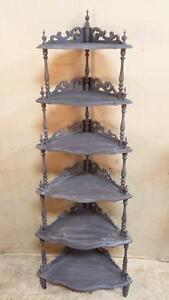 Antique Solid Wood Ornate Grey Corner Display Unit