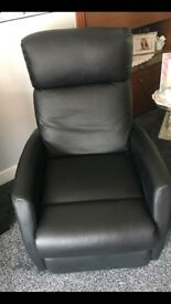 Black reclining armchairs x2