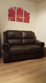 Brand new 2 seater chocolate leather recliner for sale