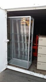 Glass display cabinet with 5 shelves all safety glass.