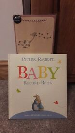 Peter rabbit record book and wooden keepsake