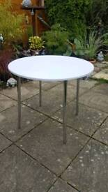 White Round Table with chrome legs