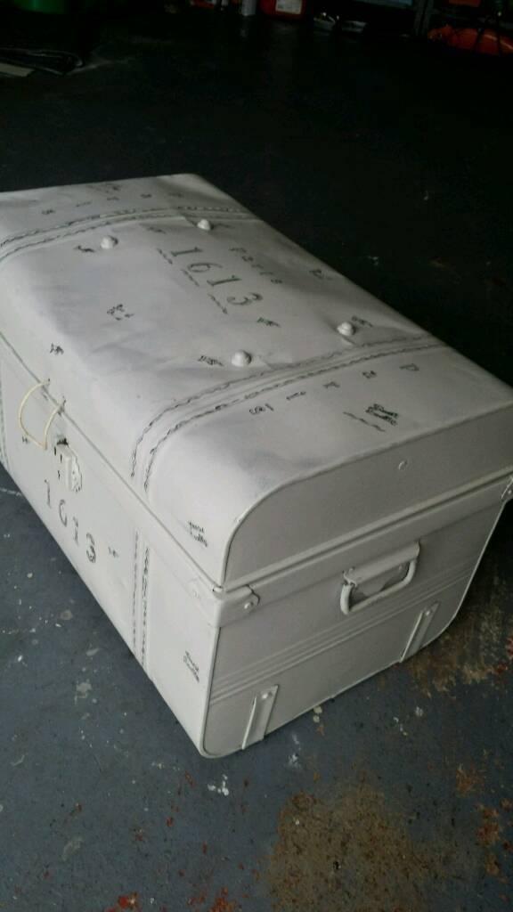 Antique dome metal trunk Paris detail