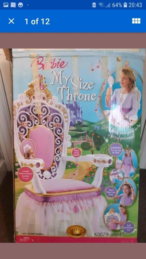 my size barbie princess throne chair