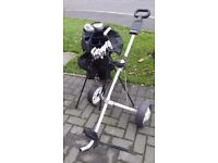 Set of meridian golf clubs case and trolley -young boy or small adult