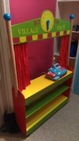 Wooden toy shop with till and trolley