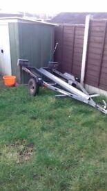 trigano single motorbike trailer with straps and ramp