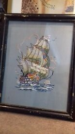 vintage ship embroidery stitched picture framed old boat naval
