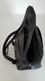 Black Soft Leather Visconti Handbag / Backpack - Very Good Condition
