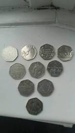 50p rare coins collection WWF canoeing boat beatrix olympics, nhs, battles etc