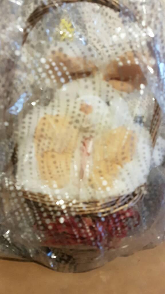 Soft bunny rabbit teddy in basket
