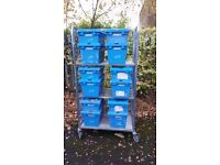 Wheeled tool storage unit with 12 large boxes only £60 - ULTRA HEAVY DUTY