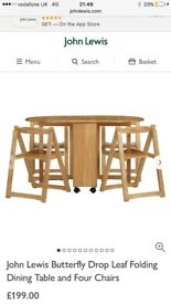 John Lewis hideaway dining table & 4 chairs butterfly table & chairs dining table & chairs