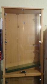 Glass display cabinets x2 floor or wall