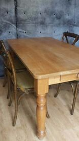 Farmhouse solid wood oak kitchen dinning table