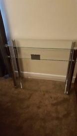 Glass and Chrome Console Tables