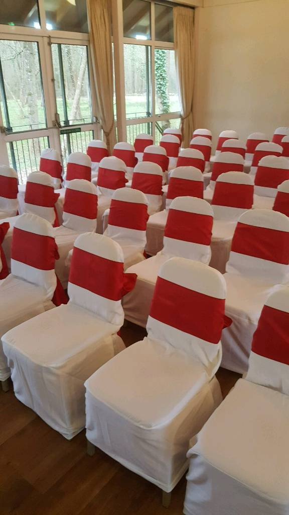 Prime Wedding White Chair Covers And Red Sashes In Southampton Hampshire Gumtree Andrewgaddart Wooden Chair Designs For Living Room Andrewgaddartcom