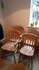 Four dining chairs - real wood / antique pine (×4)