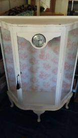 Shabby chic Glass display cabinet with clock inset