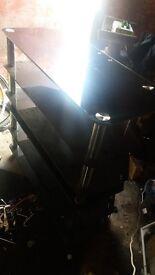 Glass Tv stand black + chrome x2