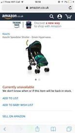 Koochi green hyperwave stroller for sale