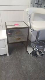 gold 2 drawer mirrored bedside