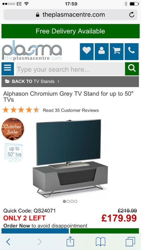 "Alphason Chromium Grey TV Stand for up to 50"" inch TV screens"