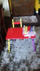 Childs desk abd 2 chairs for sale