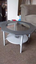 Vintage coffee table in grey with shabby chic heart detail