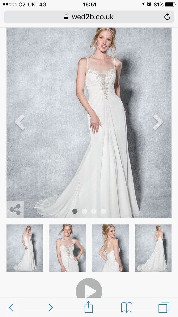 Brandnew wedding dress size 12 unaltered from wed2be with receipt
