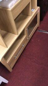 Elford Large 1 drawer 1 shelf 1 door glass tv unit - Oak effect