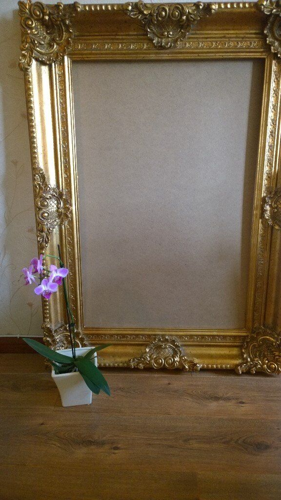 Large Ornate Gold Frame Carved Wood Suitable For A Painting Or Mirror