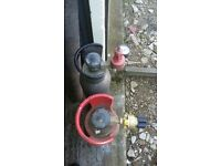 Co2 gas bottles x2 with regulator mig welding home brewing